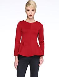 Women's Elegant Solid Slim Ruffle T-shirt , Round Neck Long Sleeve