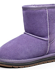 Kid's Shoes Girl's Mid-Calf Warm Fur Lined Suede Winter Snow Boots With Anti-skid Rubber sole