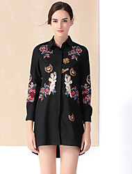 YZXH Women's Casual/Daily Chinoiserie Shirt DressEmbroidered Shirt Collar Above Knee Long Sleeve Black Cotton / Spandex Winter Mid Rise