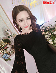 * Korean version of the Slim was thin sexy lace dress bottoming dress package hip fishtail skirt