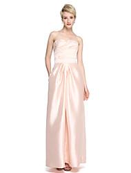 2017 Lanting Bride® Floor-length Satin Convertible Dress Bridesmaid Dress - Sheath / Column Sweetheart with Sash / Ribbon Criss Cross Ruching