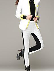 Feminino Tamanhos Grandes Skinny Chinos Calças-Cor Única Casual Simples Cintura Média Elasticidade Algodão Micro-Elástico Inverno