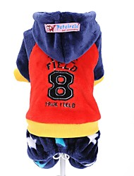 Dog Clothes/Jumpsuit Red Blue Dog Clothes Winter Letter & Number Cute Sports Fashion Keep Warm