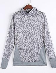 Damen Leopard Einfach Ausgehen T-shirt,Rollkragen Frühling / Herbst Langarm Grau Polyester Mittel