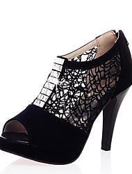 Femme-Habillé Décontracté-Noir Bleu Amande-Talon Cône Plateforme-A Plateau-Chaussures à Talons-Similicuir