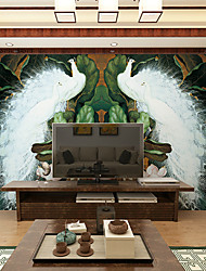 JAMMORY Art DecoWallpaper For Home Wall Covering Canvas Adhesive required Mural White Peacock Green Banana Leaf XL XXL XXXL