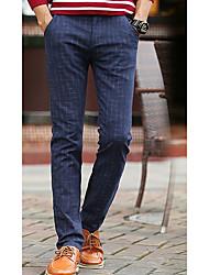 Hombre Sencillo Tiro Medio Microelástico Chinos Pantalones,Delgado A Rayas