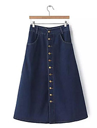 Women's A Line Solid Denim Skirts,Casual/Daily Simple Mid Rise Knee-length Button Polyester Micro-elastic Summer