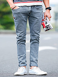 Men's Slim Jeans Pants,Casual/Daily Simple Solid Mid Rise Zipper Cotton Micro-elastic Fall