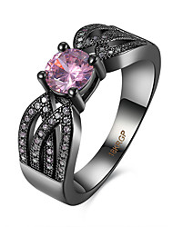Bague Zircon cubique Acier Imitation de diamant Rose Bijoux Décontracté 1pc