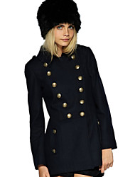 Women's Fashion High Quality Street chic Solid Shirt Collar Long Sleeve Double Breasted Tweed Pea Coats