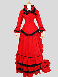 Outfits Gothic Lolita Victorian Cosplay Lolita Dress Red Solid Long Sleeve Asymmetrical Top / Skirt For Women Cotton