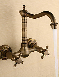 High Quality Wall Mounted Two Handles Two Holes Antique Copper Bathroom Sink Faucet