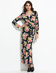Women's Going out / Party Vintage / Boho Sheath Dress,Floral V Neck Maxi Long Sleeve Red  Rayon All Seasons