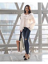 Feminino Blusa Férias Sofisticado Primavera Outono,Sólido Branco Preto Marrom Algodão Assimétrico Manga Longa Média