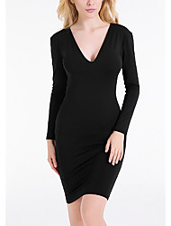 Women's Going out Sexy Bodycon Dress,Solid V Neck Midi Long Sleeve Black Polyester Spring Low Rise Inelastic Thin