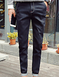 Men's Skinny Jeans Pants,Casual/Daily Simple Solid Mid Rise Zipper Cotton Micro-elastic Fall