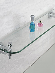 Bathroom Stainless Steel Single Glass Shelf - Chrome