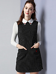 KAN F Women's Casual/Daily Simple Sheath DressStriped Shirt Collar Above Knee Long Sleeve Black Cotton Polyester Spandex Fall Mid Rise