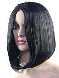 elegante Art und Weise kurze natürliche schwarze synthetische Perücken für Frauen