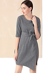 YZXH Women's Casual/Daily Vintage Sheath DressSolid Round Neck Asymmetrical  Length Sleeve Gray Cotton / Spandex Winter High Rise Inelastic