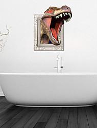 Adesivos de parede adesivos de parede 3d, dinossauros ferozes de parede do banheiro decoração mural pvc etiquetas
