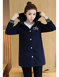Women's Casual/Daily Vintage Coat,Letter Hooded Long Sleeve Fall Multi-color Cotton Medium