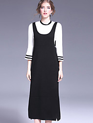 OULIE  Women's Casual/Daily Simple Fall T-shirt Skirt SuitsStriped Round Neck Long Sleeve Black Wool / Nylon