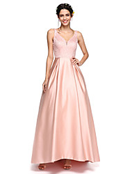 Lanting Bride® Asymmetrical Satin Sparkle & Shine Bridesmaid Dress - A-line V-neck with Beading / Pleats