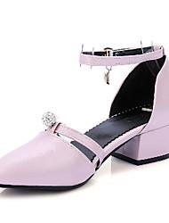Feminino-Sandálias-Sapatos com Bolsa Combinando-Salto Grosso-Preto Rosa Vermelho Branco-Courino-Escritório & Trabalho Social Casual
