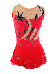 Robe de Patinage Femme Sans manche Patinage Jupes & Robes / Robes Robe de patinage artistique Elasthanne Rouge Tenue de PatinageVêtements