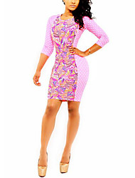 Women's Club Sexy Bodycon Dress,Floral Round Neck Midi Long Sleeve Pink Polyester Spring Low Rise Micro-elastic Thin