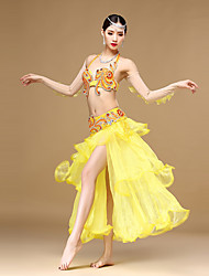 Belly Dance Outfits Women's Performance Organza Rhinestones / Ruffles / Sequins / Split/Egyptian Cup 4 Pieces top/skirt/long sleeves