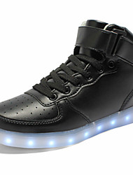 Unisex Sneakers Spring Summer Fall Winter Comfort Novelty Light Up Shoes PU Outdoor Casual Athletic Flat Heel Lace-up Hook & Loop LED