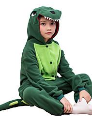 Kigurumi Pajamas Dinosaur Leotard/Onesie Festival/Holiday Animal Sleepwear Halloween Green Solid Polar Fleece For KidHalloween /