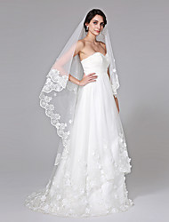 Wedding Veil One-tier Cathedral Veils Lace Applique Edge Net
