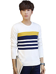 Men's Casual/Daily Plus Size Vintage Simple Street chic Regular Pullover,Solid Striped Blue White Gray Round Neck Long SleeveCotton