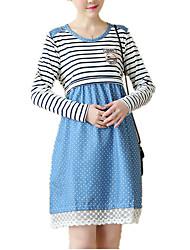 Gravidez Solto Vestido, Casual Simples Poá Listrado Estampa Colorida Decote Redondo Acima do Joelho Manga Longa Azul Algodão Poliéster