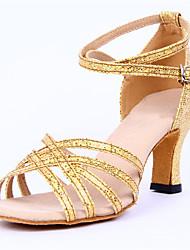 Non Customizable Women's Dance Shoes Sparkling Glitter Sparkling Glitter Latin Sandals Stiletto Heel Performance Silver / Gold
