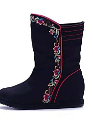 Women's Boots Spring Winter Comfort Canvas Outdoor Dress Casual Low Heel Satin Flower Flower Black Red Walking