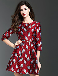 Women's Casual/Daily Vintage A Line Dress,Jacquard Round Neck Above Knee ¾ Sleeve Red Polyester Fall Winter Mid Rise Inelastic Medium