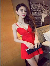 Women's Formal Sexy A Line Dress,Solid V Neck Above Knee Sleeveless Red / Black Cotton All Seasons Low Rise Micro-elastic Medium