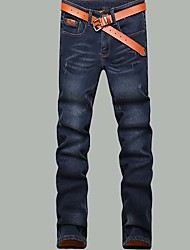 Men's Straight Jeans Pants,Casual/Daily Simple Solid Mid Rise Zipper Cotton Micro-elastic Fall / Winter