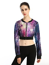 Women's Casual/Daily Simple Jackets,Galaxy Round Neck Long Sleeve Spring / Summer Purple Polyester Thin / Medium