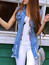 Women's Fashion Tassel Denim Long Vest