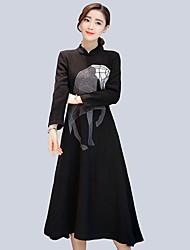 signe hiver 2016 robe boutons plaque vintage collier épais était mince jupe de laine brodé mince