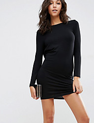 Fall 2016 Europe and the United States women's wear backless long-sleeved sexy cultivate one's morality fashion dress