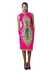 Women's Casual/Daily Sexy Sheath Dress,Geometric Round Neck Midi Sleeveless Pink Cotton Summer Mid Rise Micro-elastic Thin