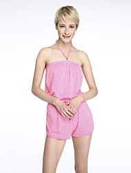 Women's Geometric Pink / Orange Jumpsuits , Boho / Beach / Print Strapless Sleeveless