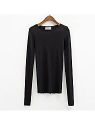Damen Solide Niedlich Lässig/Alltäglich T-shirt,Rundhalsausschnitt Herbst Winter Langarm Weiß Schwarz Baumwolle Mittel